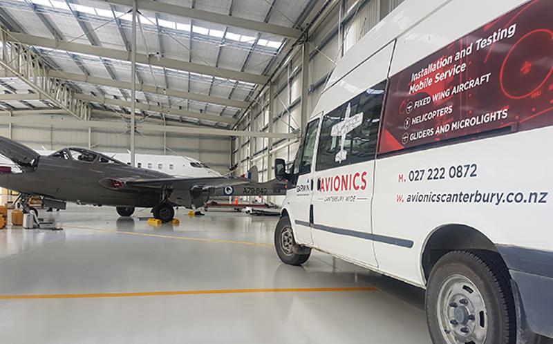 avionics van in hanger 800x498